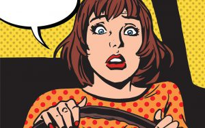 Retro girl beim autofahren